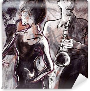 Fototapet av Vinyl Jazz band med dansare