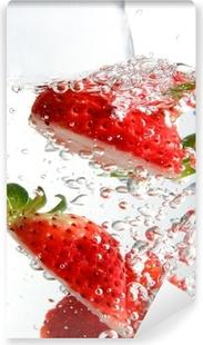 Jordbær splash Vinyl fototapet