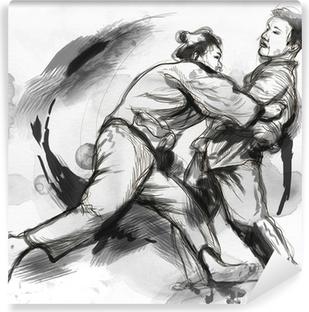 Fototapet av Vinyl Judo - en fullstor handritad illustration
