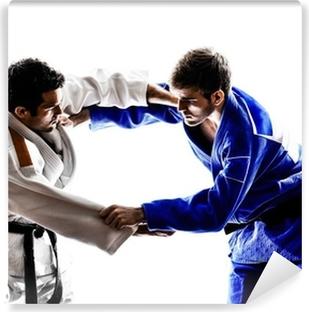 Fototapet av Vinyl Judoutövare soldater kämpar män silhuett