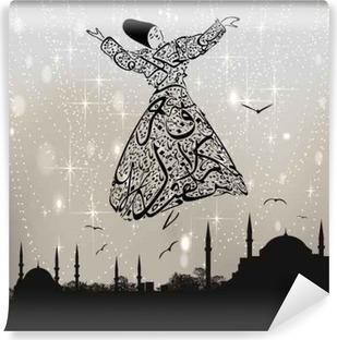 Fototapet av Vinyl Kalligrafi dervish och istanbul moskéer