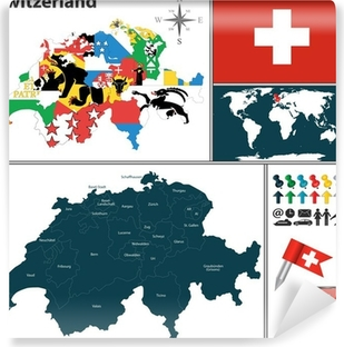 Kort Over Schweiz Plakat Pixers Vi Lever For Forandringer