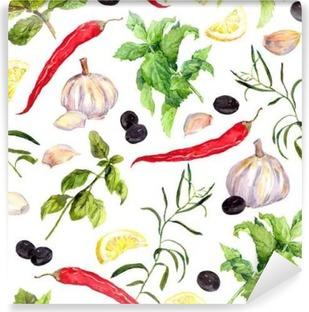 Fototapet av vinyl Krydder og urter, sømløs matlaging. vannfarge