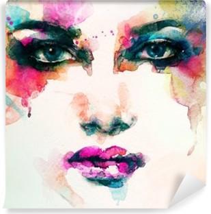 Fototapet av Vinyl Kvinna stående .abstract akvarell .fashion bakgrund
