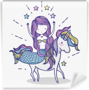 Lille havfrue med unicorn kunst tegneserie Vinyl fototapet