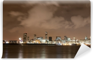 Fototapet av Vinyl Liverpool Fyrverkeri panorama på nyårsafton
