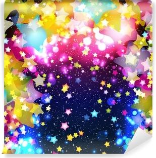 Fototapet av Vinyl Ljusa färgrika flygande stjärnor på en fantastisk design bakgrund.