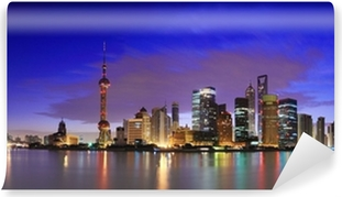 Fototapet av Vinyl Lujiazui Finance & Trade Zone i Shanghai landmärke skyline i gryningen