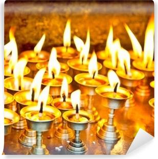 Lys på swayambhunath tempel i Nepal Vinyl fototapet
