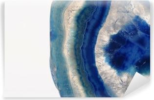 Makro af blå agat sten Vinyl Fototapet