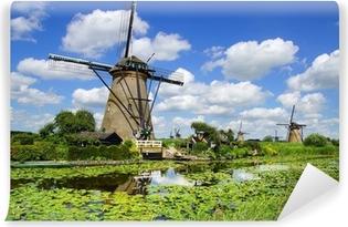 Malerisk landskab med vindmøller. Kinderdijk Vinyl fototapet