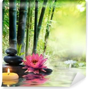 Fototapet av Vinyl Massage i naturen - lilja, stenar, bambu - zen begrepp