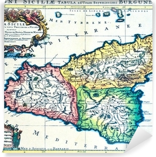 Kort Over Sicilien Italien Til Et Firkantet Farvet Ikon