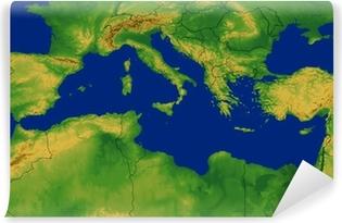 kart middelhavsområdet Lerretsbilde Middelhavsområdet Kart med terreng • Pixers®   Vi  kart middelhavsområdet