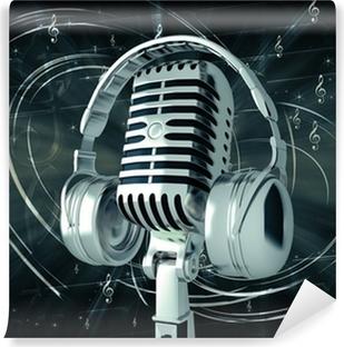 Fototapet av Vinyl Mikrofon med hörlurar på musikalisk bakgrund