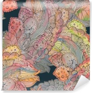 Fototapet av Vinyl Mode smidig konsistens med abstrakt blommönster. watercolo