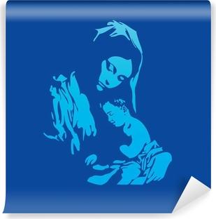 Fototapet av Vinyl Moder Maria med Jesus Kristus i blått