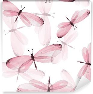 Fototapet av Vinyl Mönstret av fjärilar. Seamless vektor bakgrund. Akvarell illustration 10