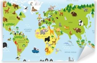 Fototapet av vinyl Morsomt tegneserieverdenskart med tradisjonelle dyr på alle kontinenter og hav. Vector illustration for førskole utdanning og barn design
