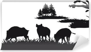 Fototapet av Vinyl Motive jakt på djur och landskap