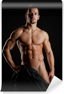 Muskuløs ung sexet nøgen mand indpakket i silke Vinyl fototapet