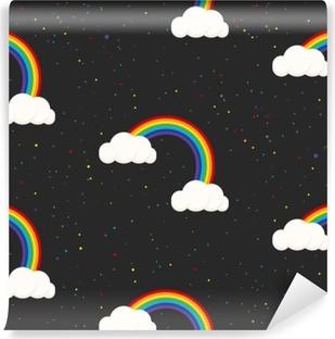 Fototapet av Vinyl Natthimlen fantasi kid seamless. Star konfetti, moln och regnbåge pojke grå tapeter och tyg design.