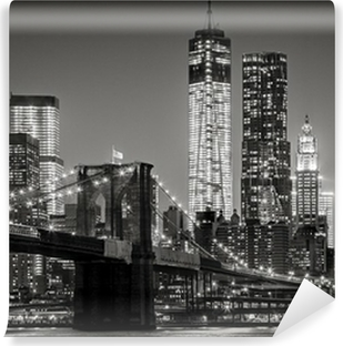 Fototapet av Vinyl New York by night. Brooklyn Bridge, Lower Manhattan - Svart en