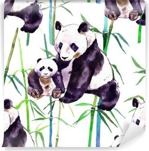 Panda akvarel. Panda bjørn og baby bjørn. Panda Bear akvarel illustration isoleret på hvid baggrund Vinyl fototapet