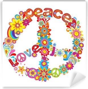 Fototapet av Vinyl Peace blomma symbol med hippie symbolisk