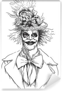 Portræt af en udøde (zombie, skræmmende klovn ...), håndtrækning Vinyl fototapet
