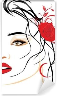 Fototapet av Vinyl Porträtt av vacker kvinna med röd ros i håret
