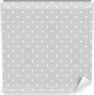 Problemfri hvid og grå vektor mønster eller flise baggrund med polka dots Vinyl fototapet