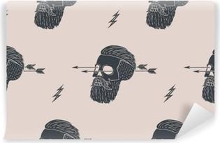 Problemfri mønster baggrund af vintage kranium hipster med pil. Grafisk design til indpakningspapir og stoftekstur af skjorte. Vektor illustration Vinyl fototapet