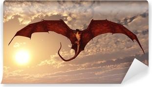 Fototapet av Vinyl Red Dragon anfall från Sunset Sky