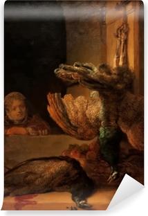 Fototapet av Vinyl Rembrandt - Stilleben med två påfåglar och en flicka