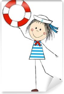 Fototapet av Vinyl Rolig flicka bär sjöman kostym