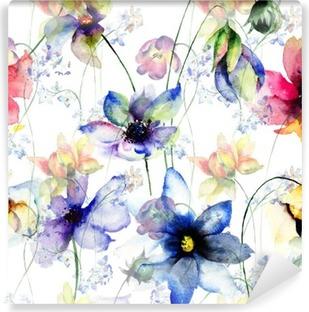 Fototapet av Vinyl Seamless dekorativa sommarblommor