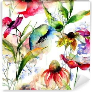 Fototapet av Vinyl Seamless mönster med stiliserade blommor