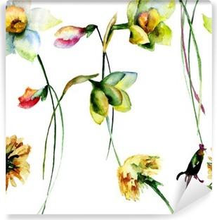 Fototapet av Vinyl Seamless Narcissus och maskros blommor