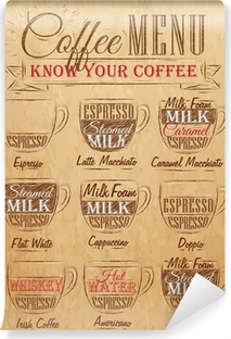 SeSæt af kaffemenu tegning kridt. Årgang. Vinyl fototapet