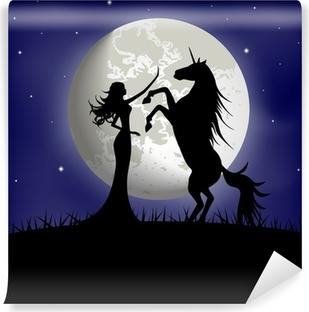 Fototapet av Vinyl Silhuett av vacker flicka och unicorn på en bakgrund av månen