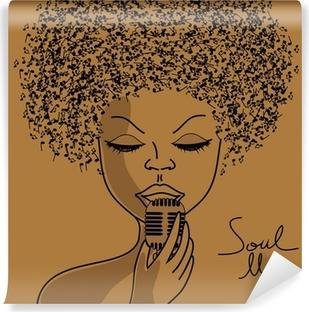 Fototapet av Vinyl Singer siluett med noter hår