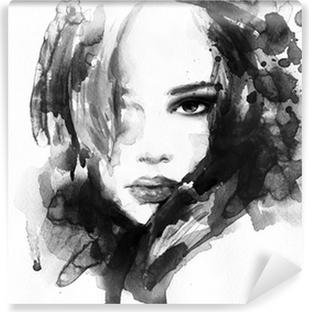 Smuk kvinde ansigt. akvarel illustration Vinyl fototapet