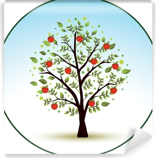 Smuk vektor æbletræ Vinyl fototapet