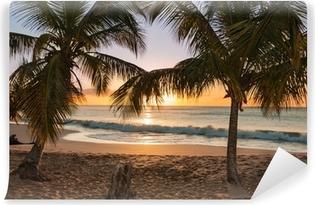 Solnedgang strand palmetræer bølger Vinyl fototapet