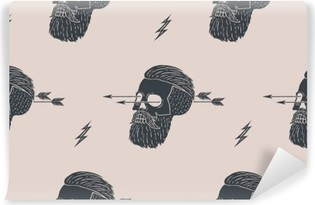 Fototapet av vinyl Sømløs mønster bakgrunn av vintage hodeskalle hipster med pil. Grafisk design for innpakningspapir og stofftekstur av skjorte. Vector Illustrasjon