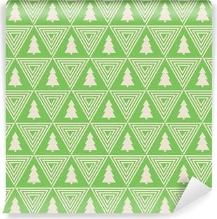 Fototapet av Vinyl Sömlösa vektor mönster av julgran silhuett och triangel spiral.