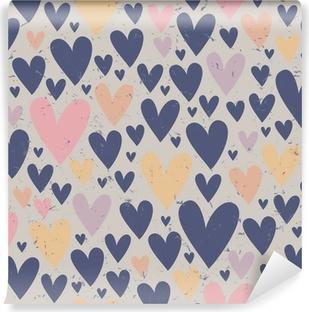 Sømløse hjerte mønster Vinyl fototapet