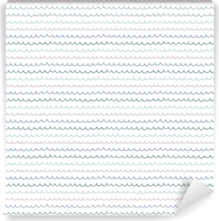 Fototapet av vinyl Søt håndtegnet sømløs vektor mønster med havbølger, på en hvit bakgrunn. skandinavisk design stil. konsept for sommer, strand, barn tekstil utskrift, tapet, innpakningspapir.