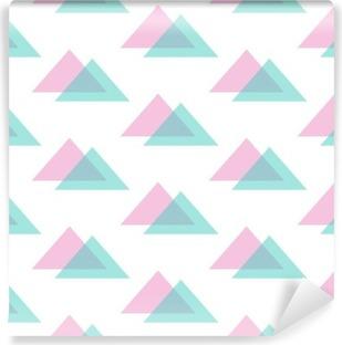 Fototapet av vinyl Søt moderne rosa og mintgrønne trekant sømløs mønsterbakgrunn.